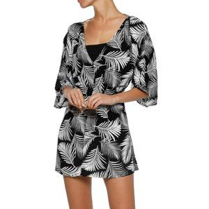 Onia Alessandra Shirred Printed Palm Tree Coverup